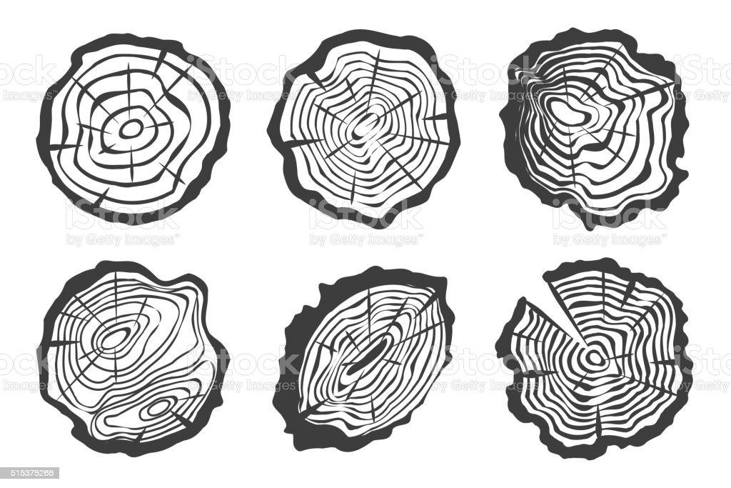 Tree rings set isolated on white background vector art illustration