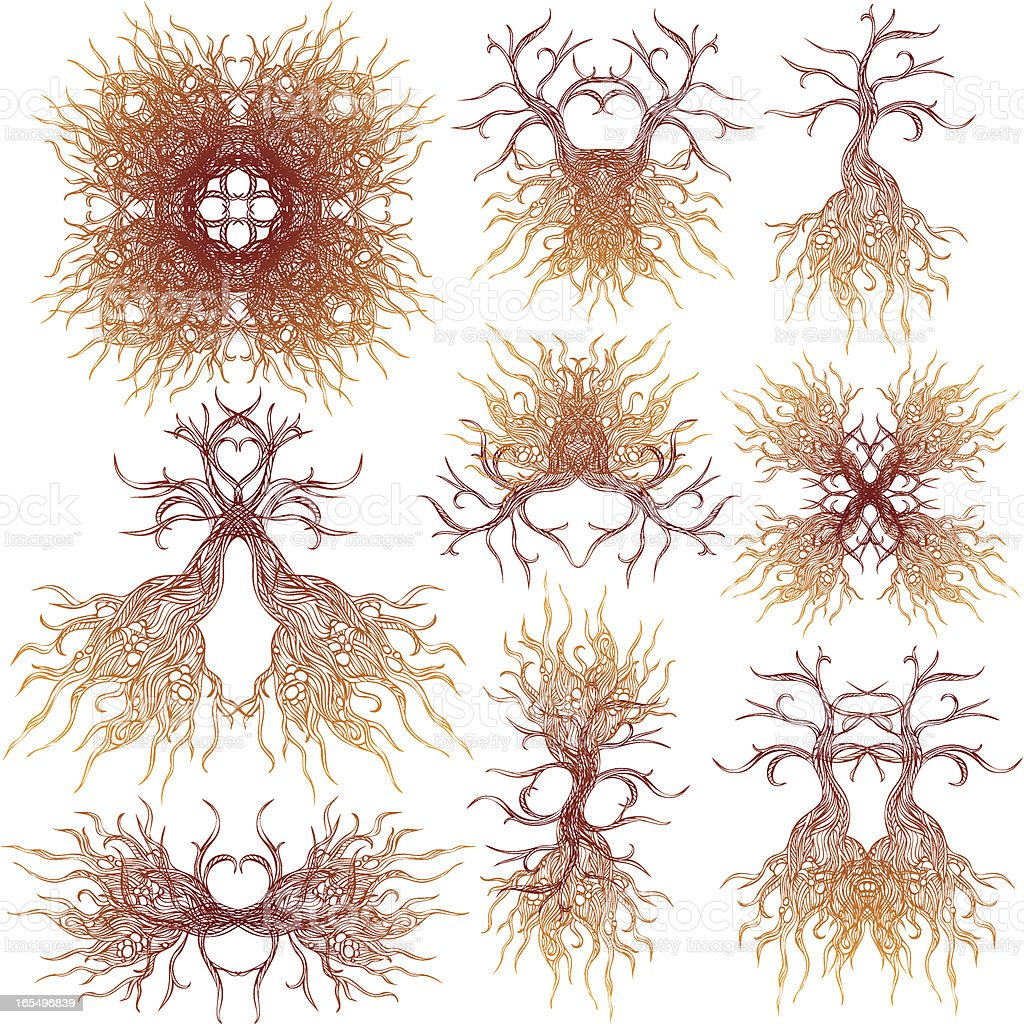 tree roots elements royalty-free stock vector art