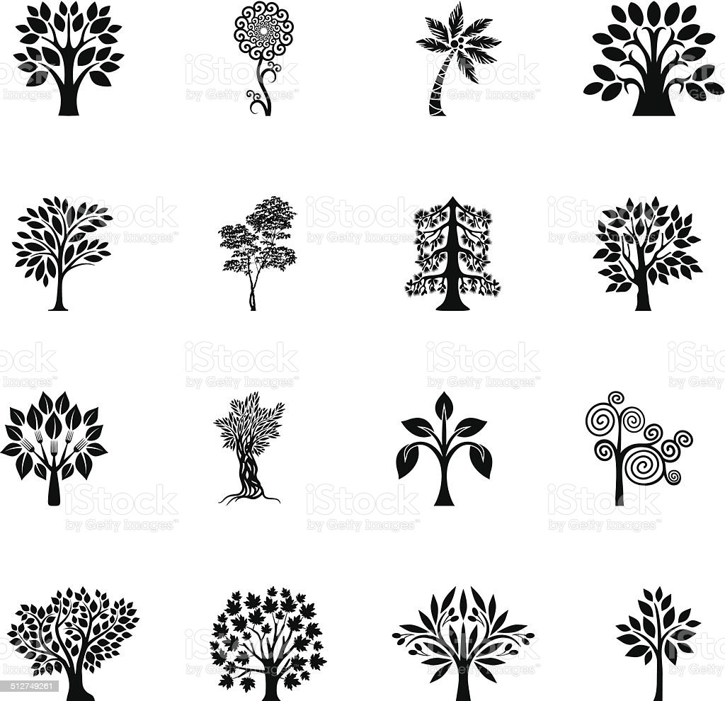 Tree set II vector art illustration