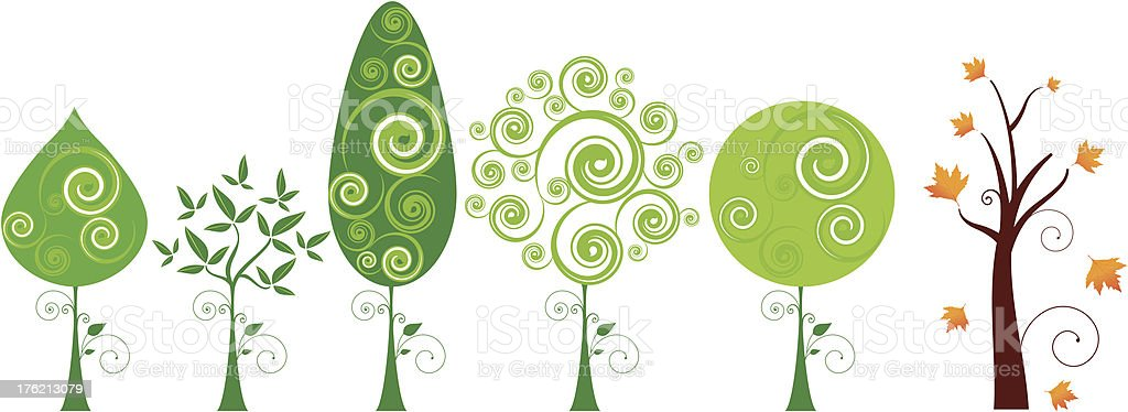 Tree Set royalty-free stock vector art