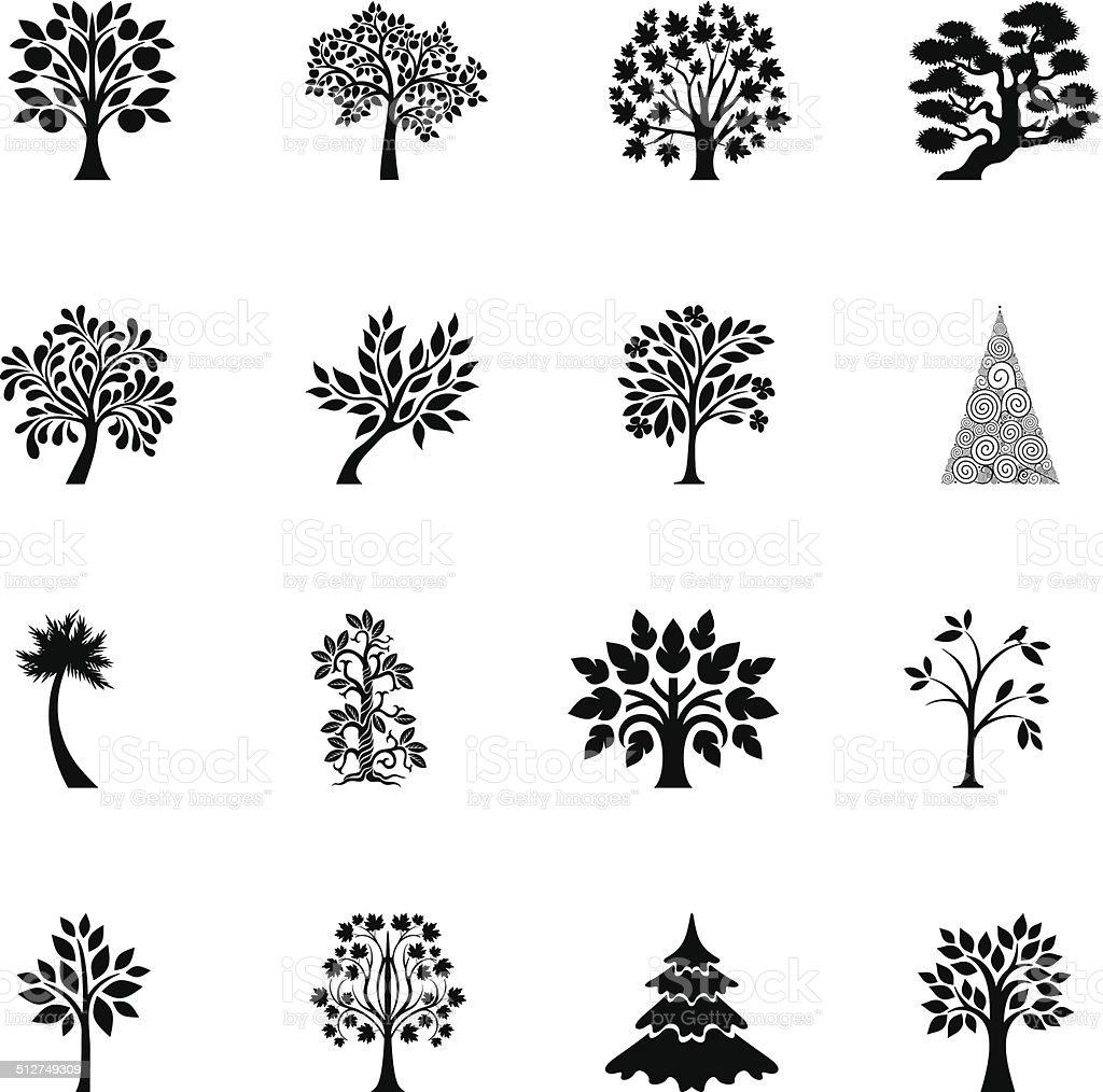 Tree set vector art illustration