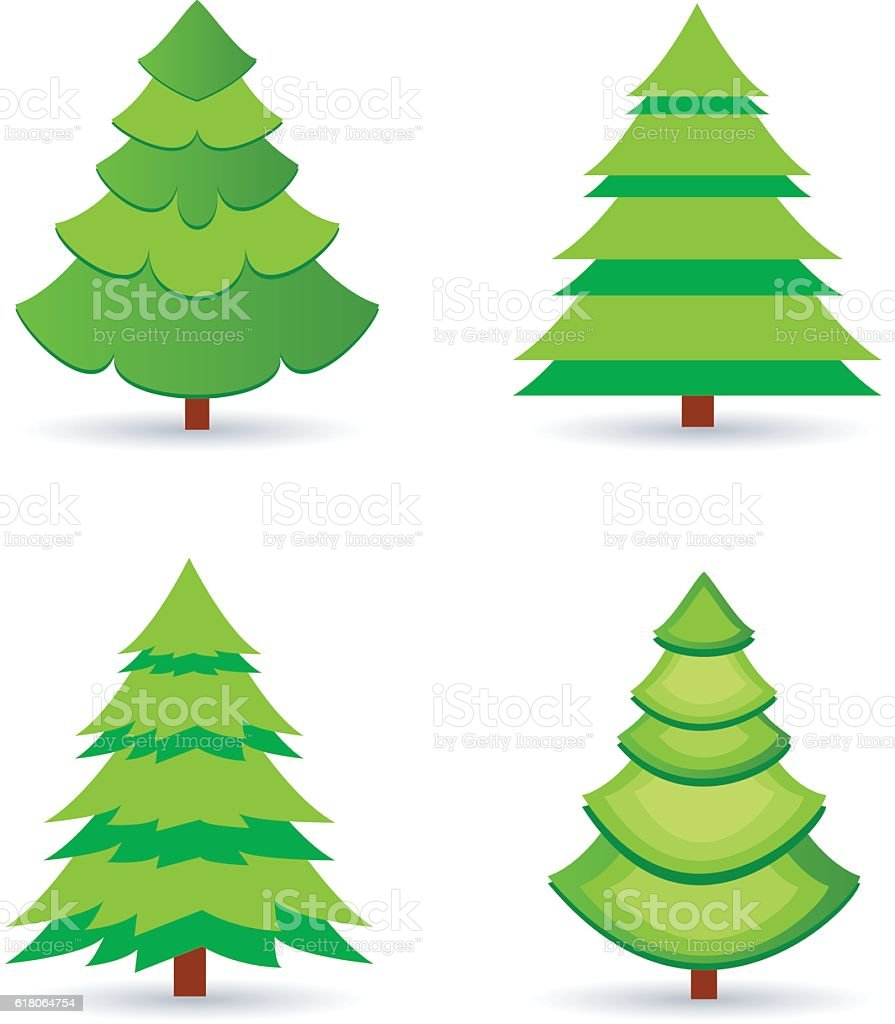 Tree set vector art illustration