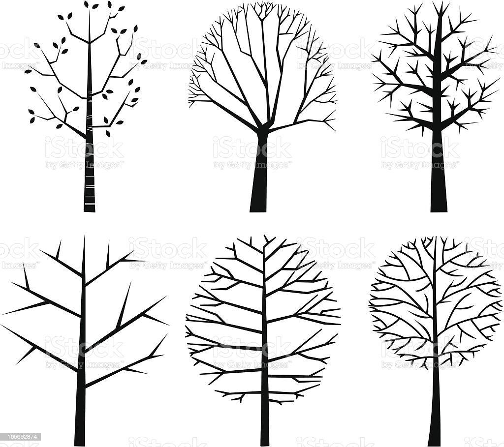 tree shapes vector art illustration