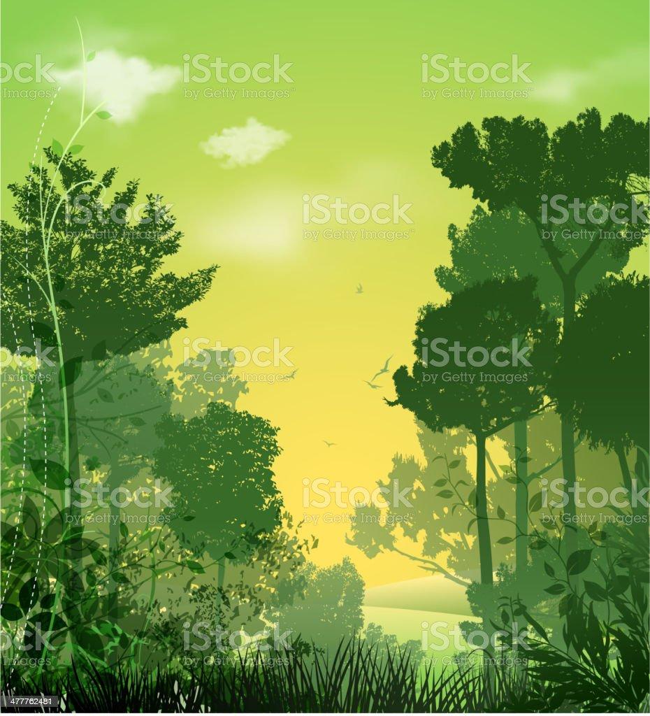 tree silhouette landscape royalty-free stock vector art