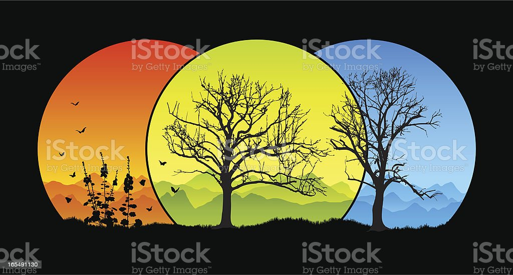 Tree silhouettes in the mountains royalty-free stock vector art