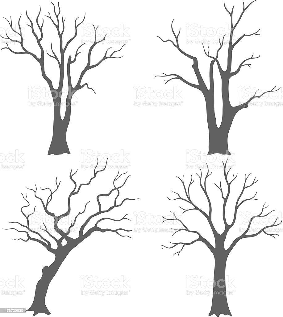 Tree silhouettes vector art illustration