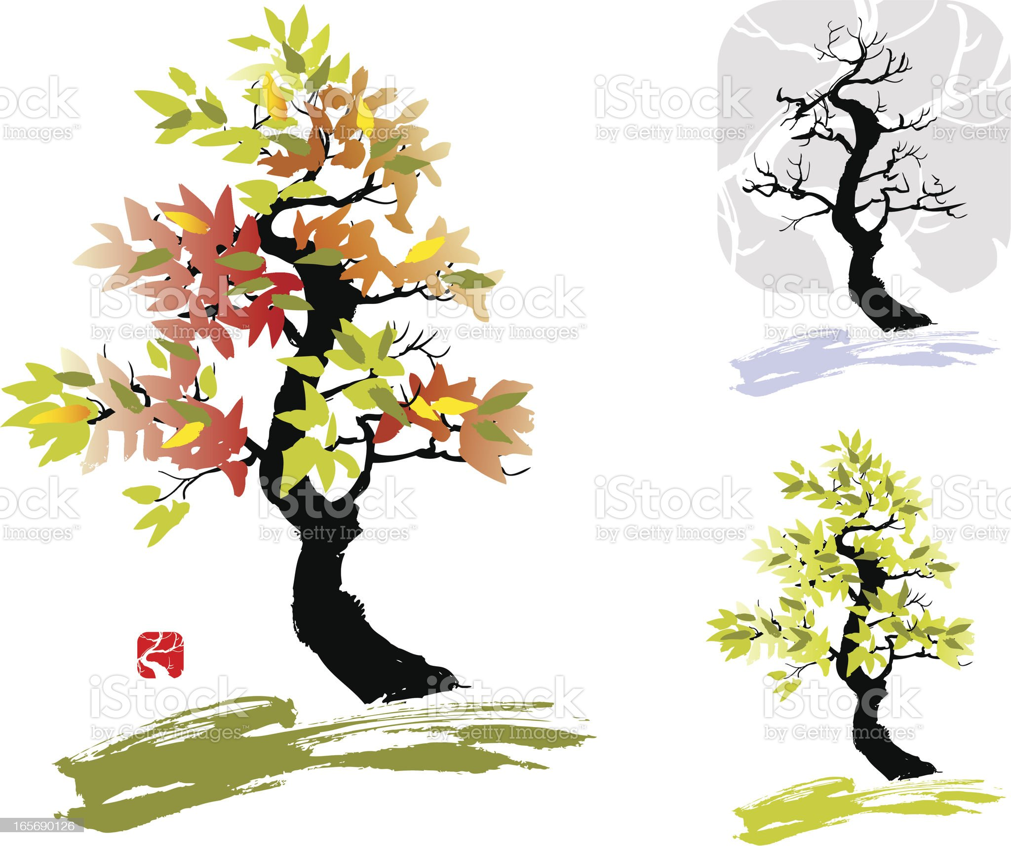 Tree - spring autumn winter royalty-free stock vector art