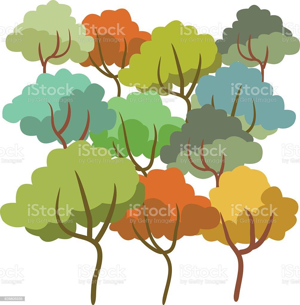 tree summer set color drawing vector art illustration