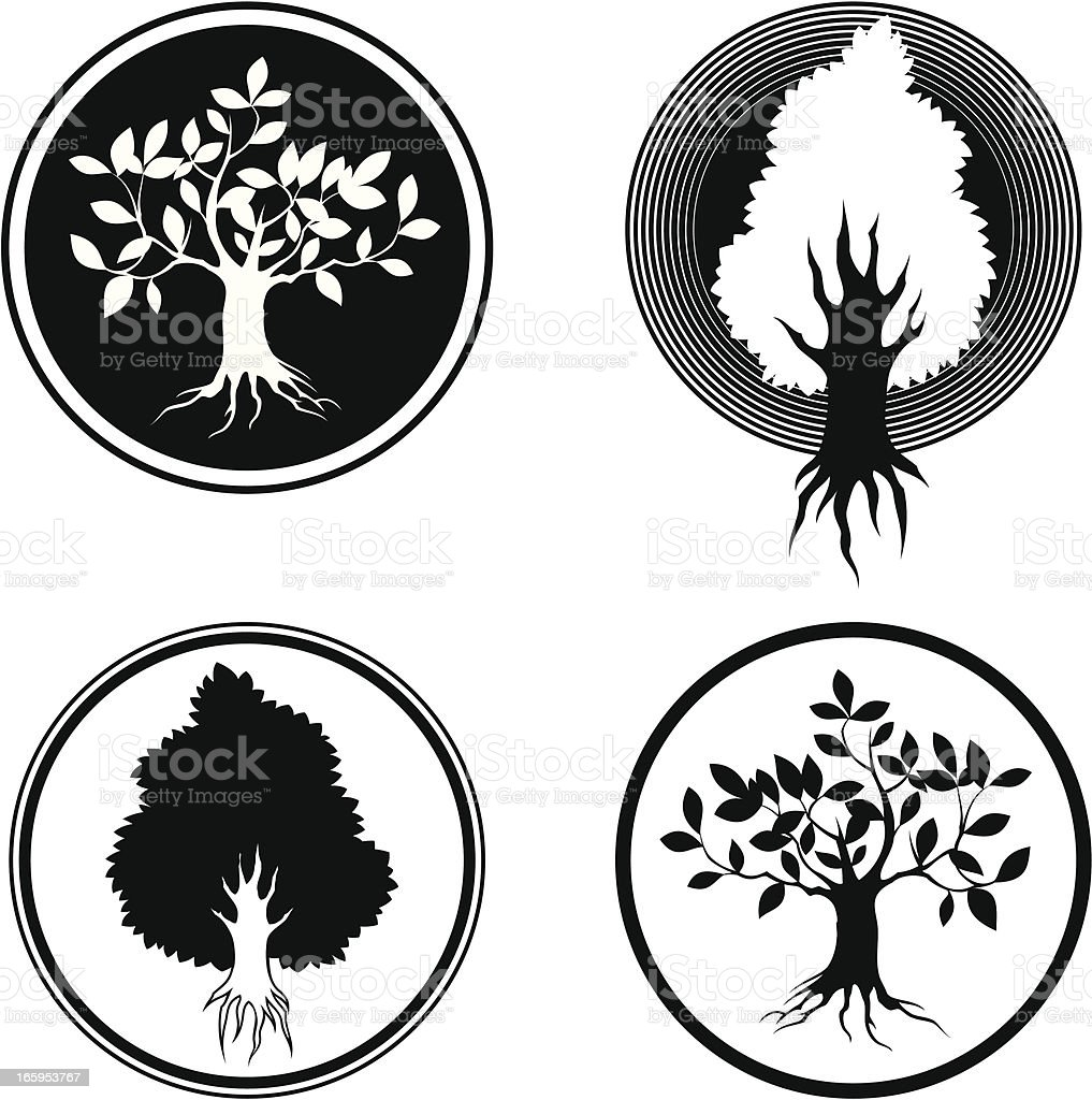 Tree symbols vector art illustration