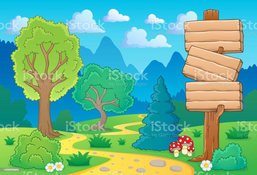 Tree theme landscape 2 royalty-free stock vector art
