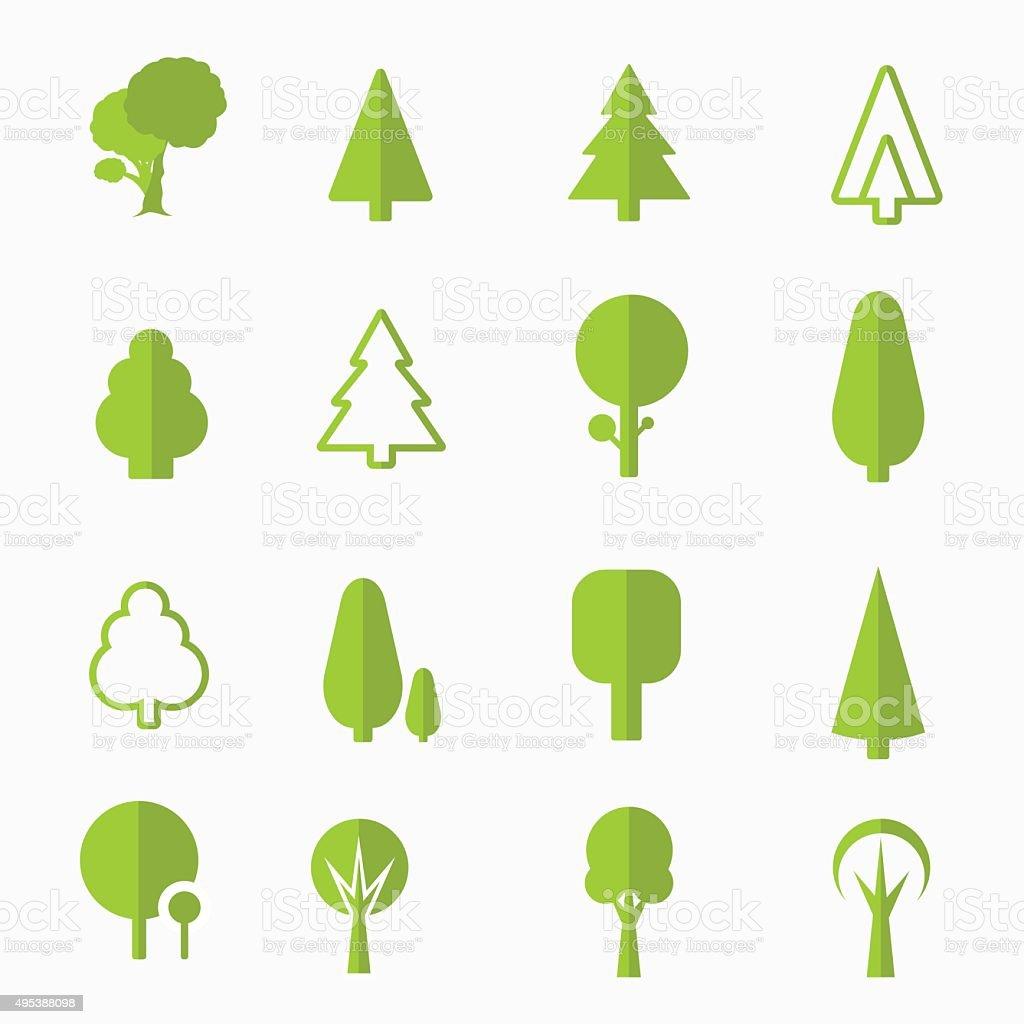 tree vector icons set vector art illustration