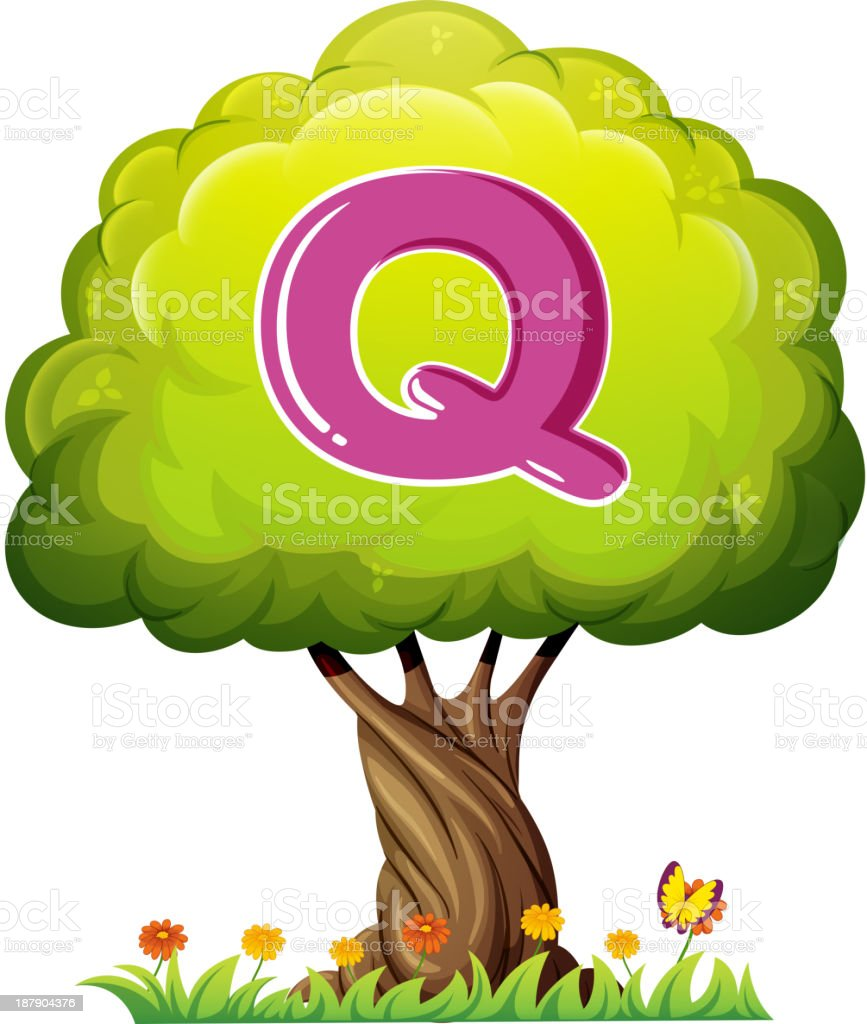 tree with a letter Q royalty-free stock vector art