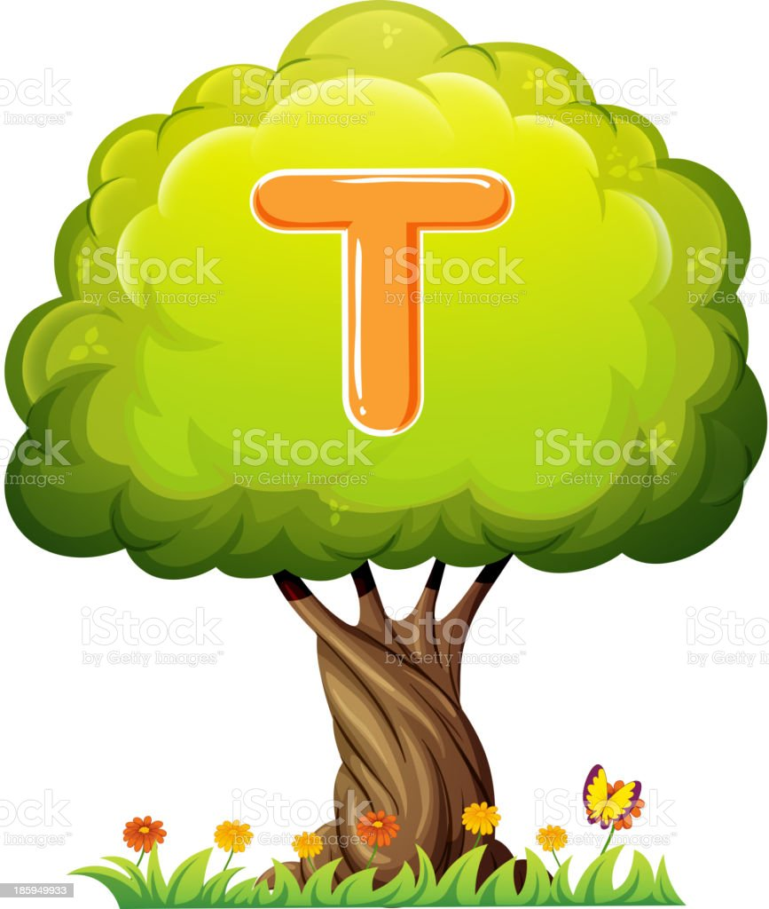 tree with a letter T royalty-free stock vector art