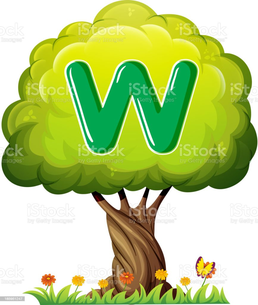 tree with a letter W royalty-free stock vector art