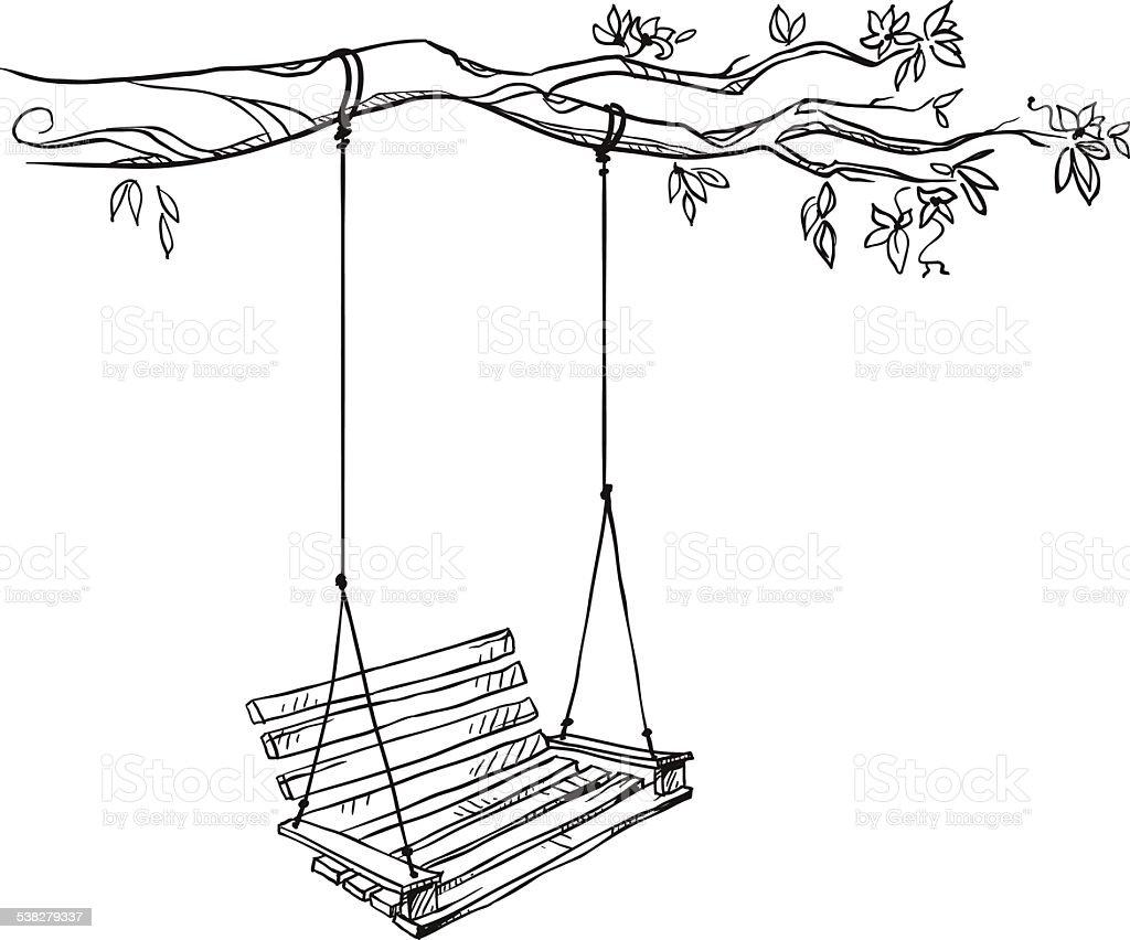 tree with a swing. Vector illustration. vector art illustration