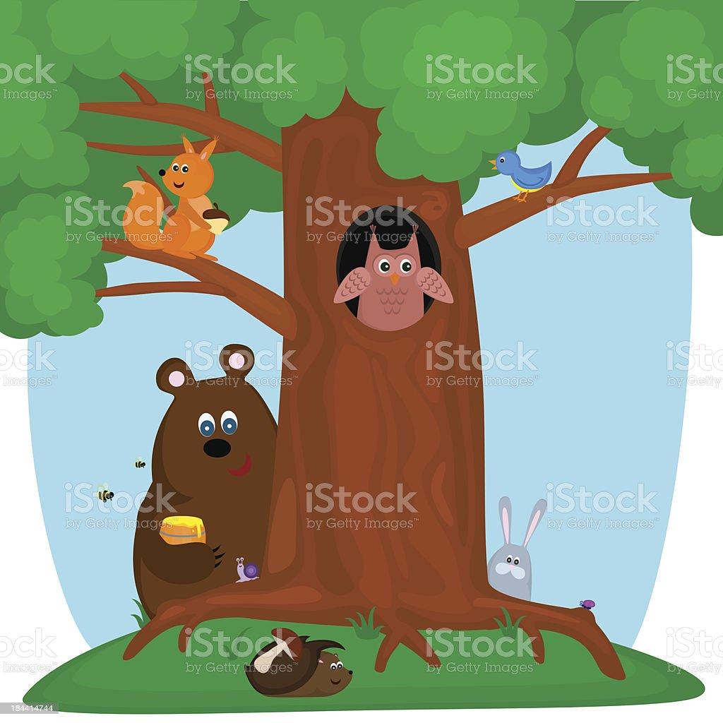 tree with animals vector art illustration