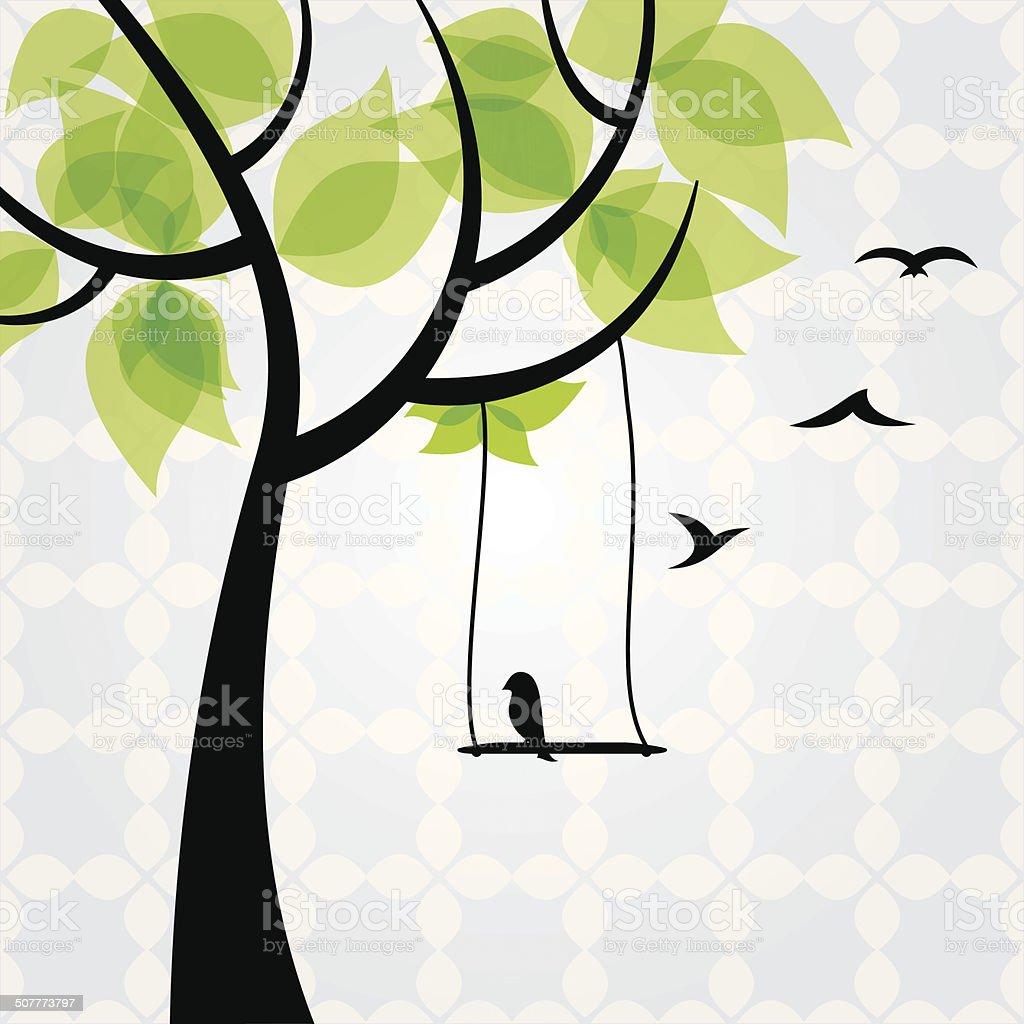 Tree with  birds, vector - Illustration vector art illustration
