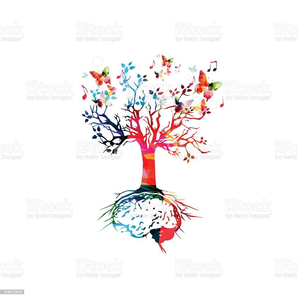 Tree with brain root, brainstorming concept vector art illustration
