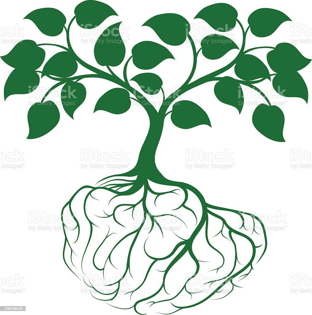 Tree with brain roots vector art illustration