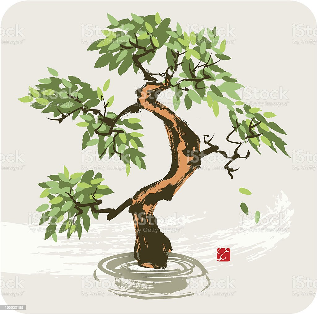 Tree with falling Leaves royalty-free stock vector art