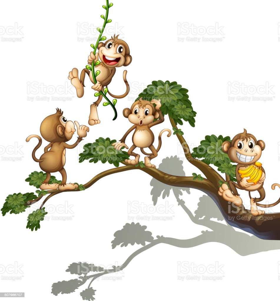Tree with four monkeys vector art illustration