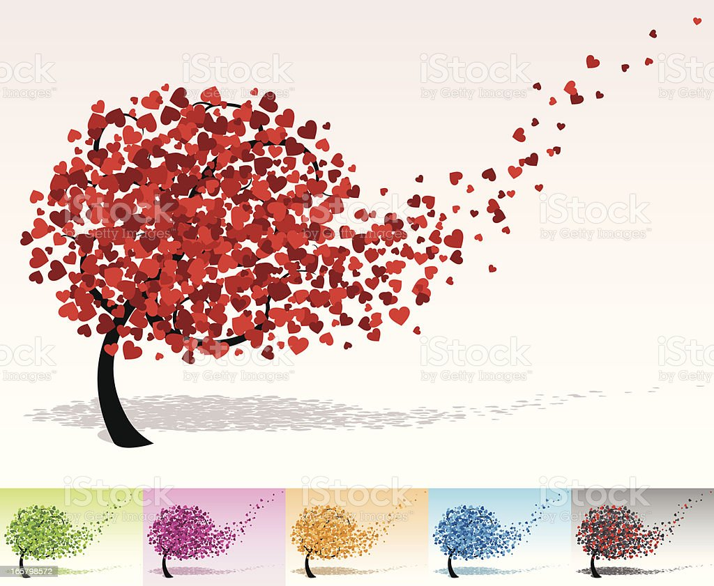 Tree with heart shaped leaves vector art illustration