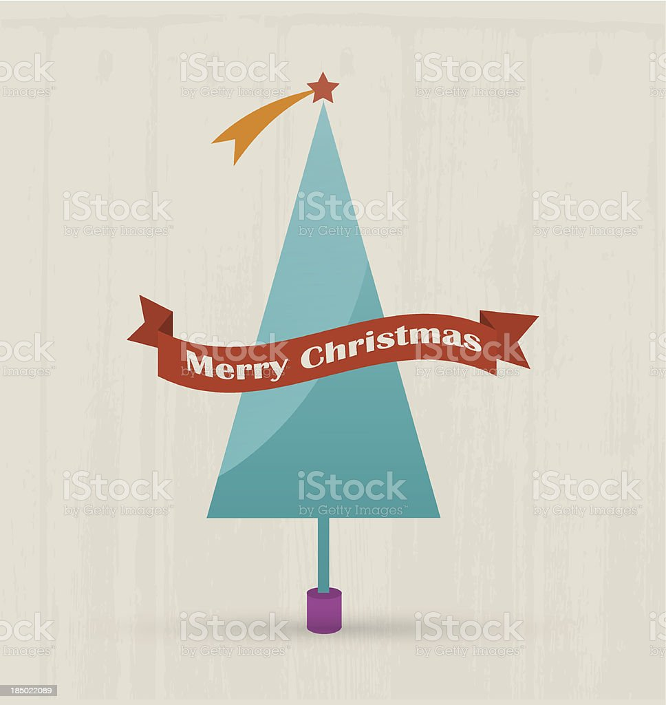 Tree with merry christmas text. royalty-free stock vector art
