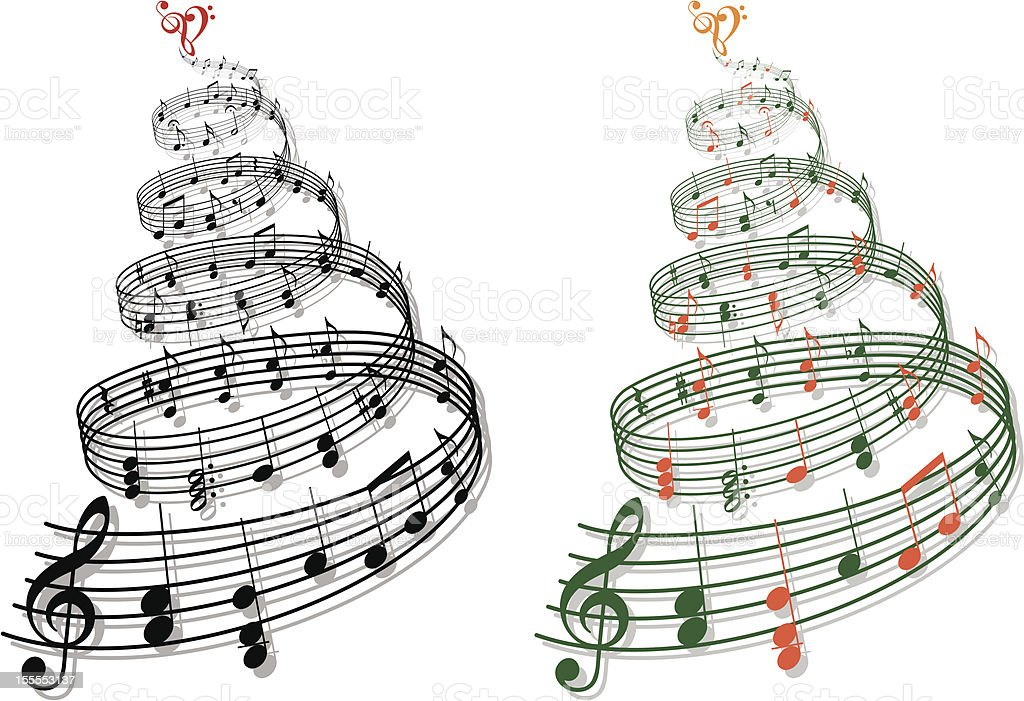 tree with music notes, vector royalty-free stock vector art