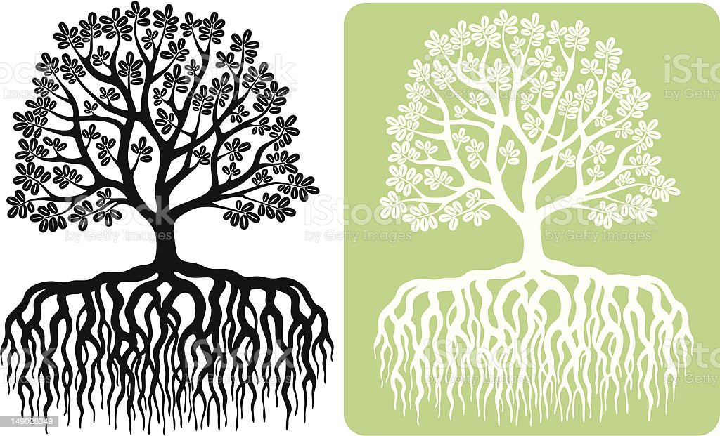 Tree with oval leaves silhouette vector art illustration