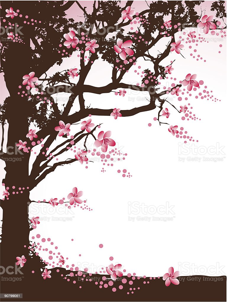 Tree with pink flowers royalty-free stock vector art