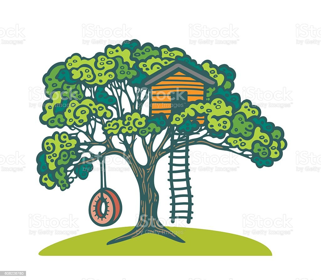 Tree with playhouse and swing. vector art illustration