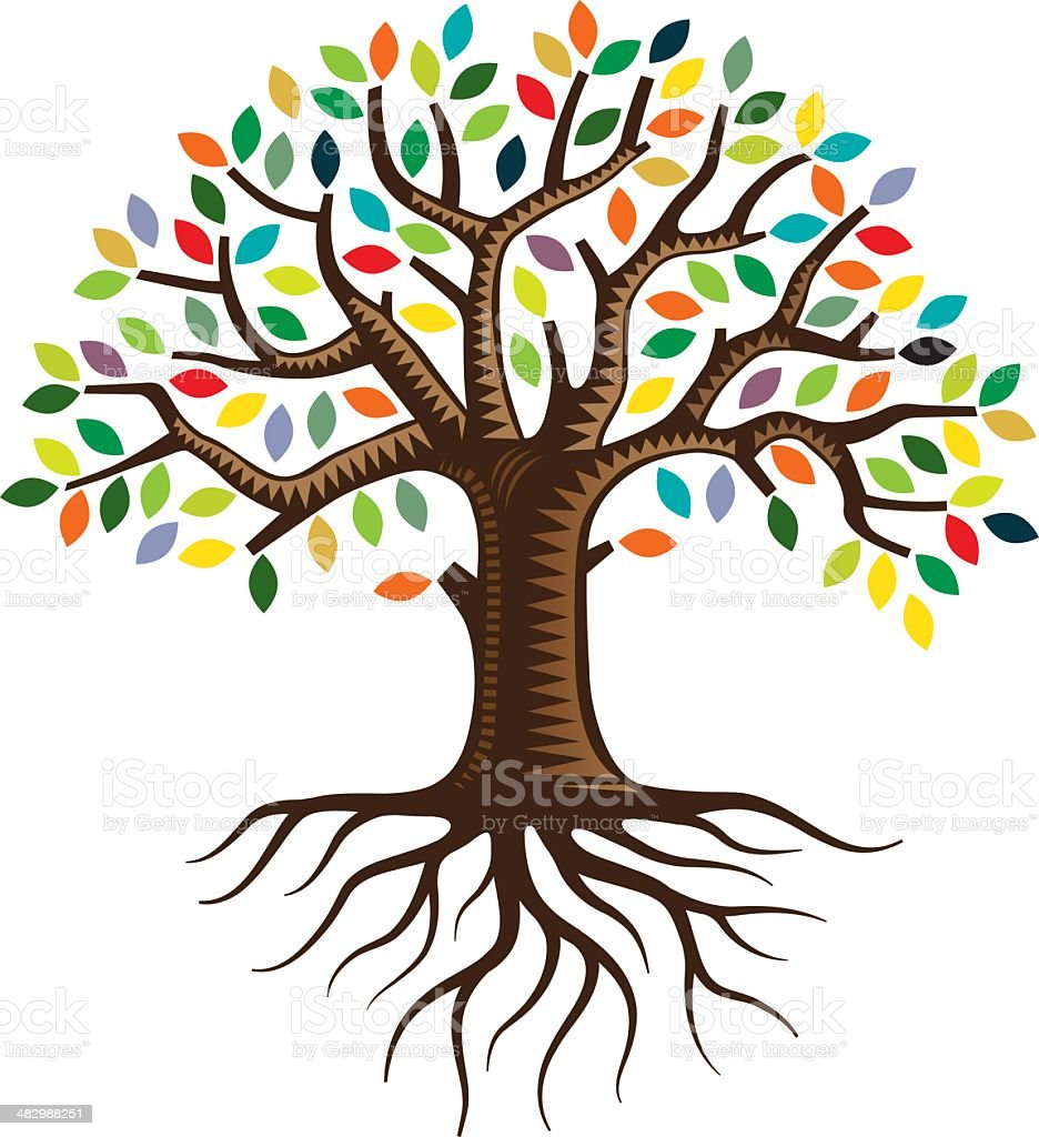 Tree with roots and brightly colored leaves vector art illustration