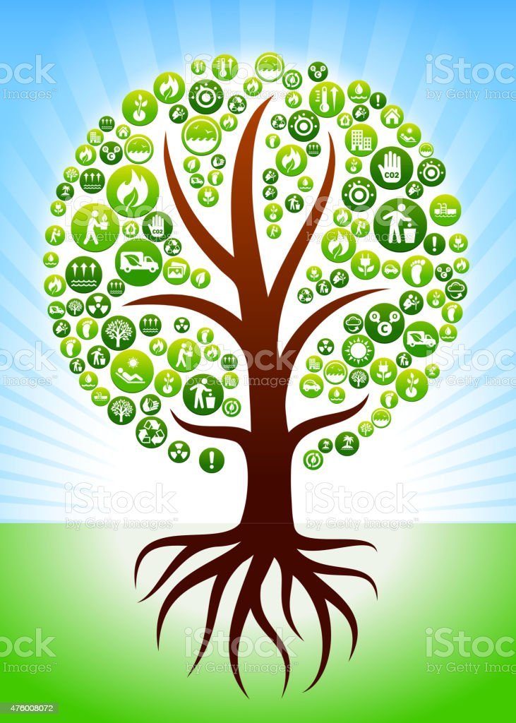 Tree with Roots Environmental Conservation Green Vector Button Pattern. vector art illustration