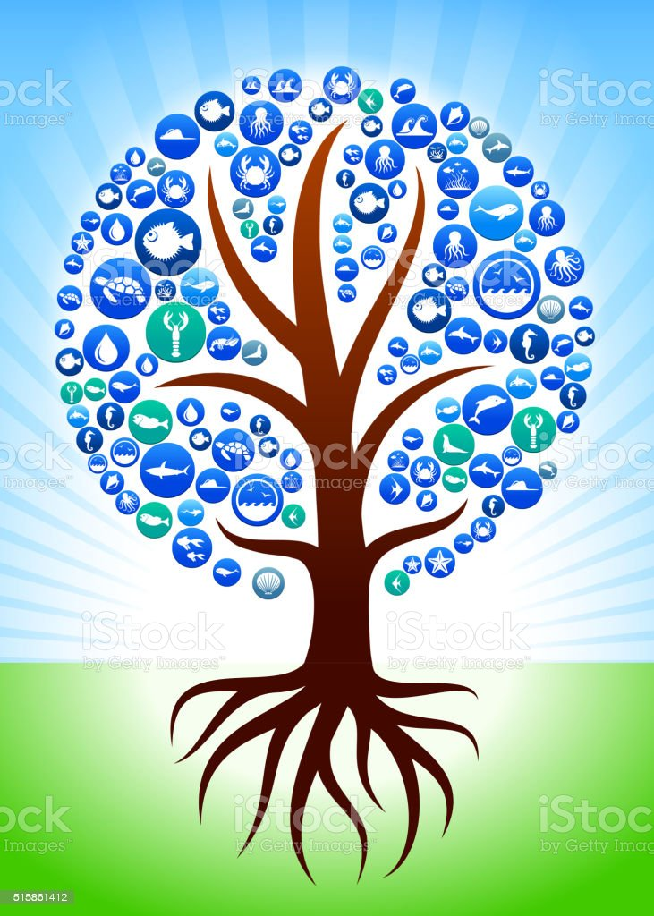 Tree with Roots Sea and Marine Life Button Pattern vector art illustration