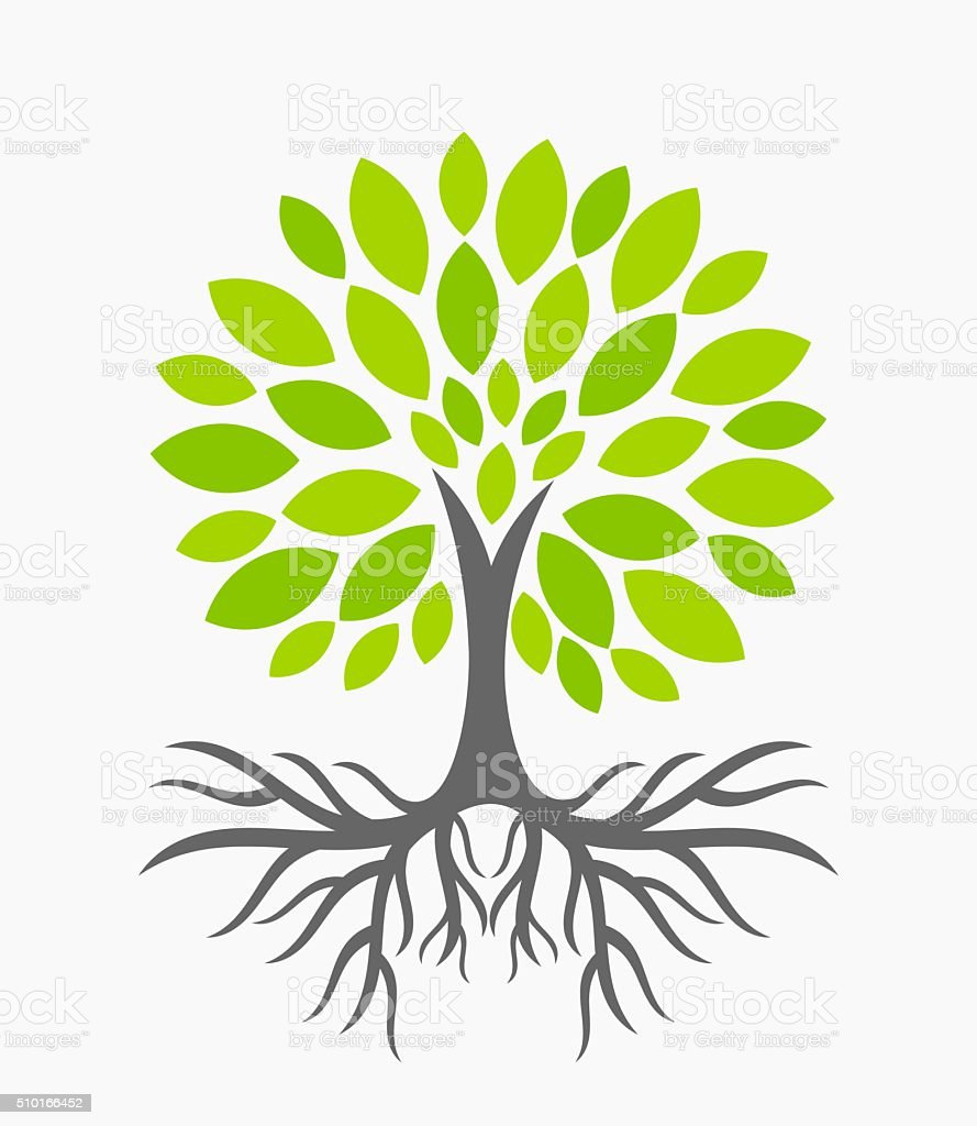 Tree with roots vector art illustration