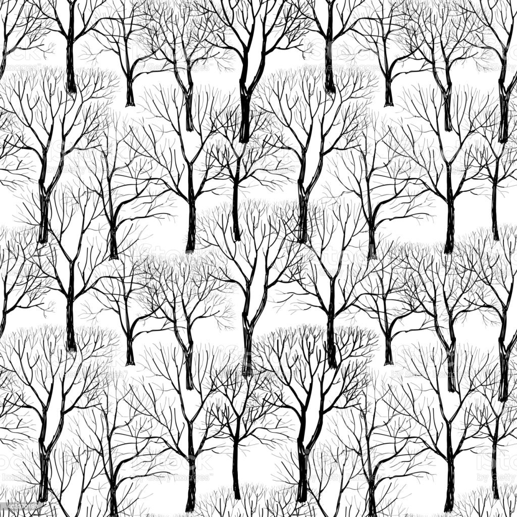 Tree without leave tileable wallpaper vector art illustration