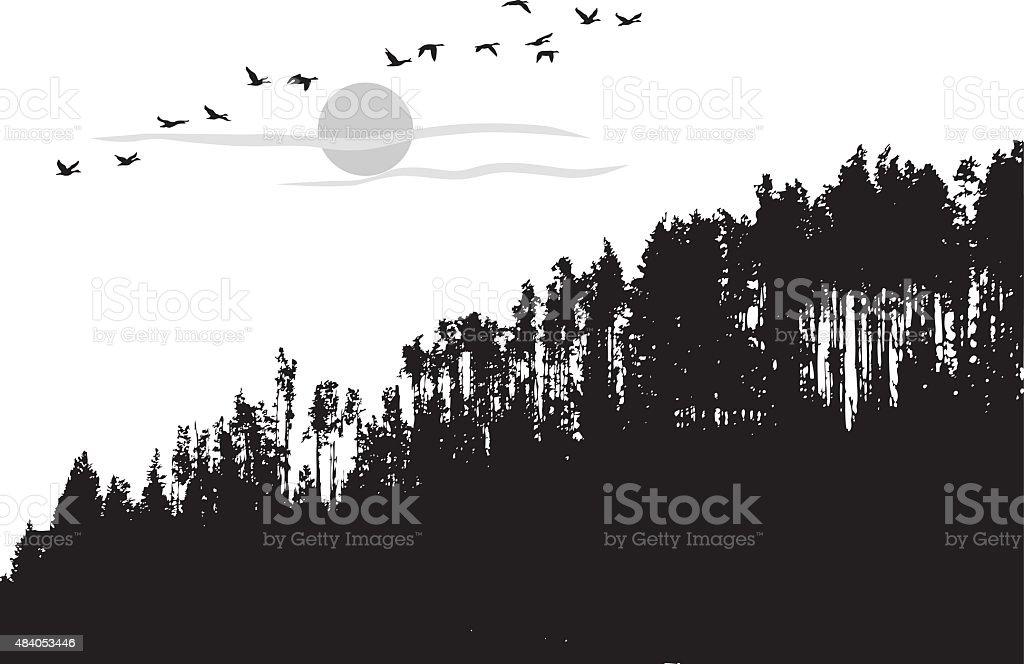 Treeline Landscape vector art illustration