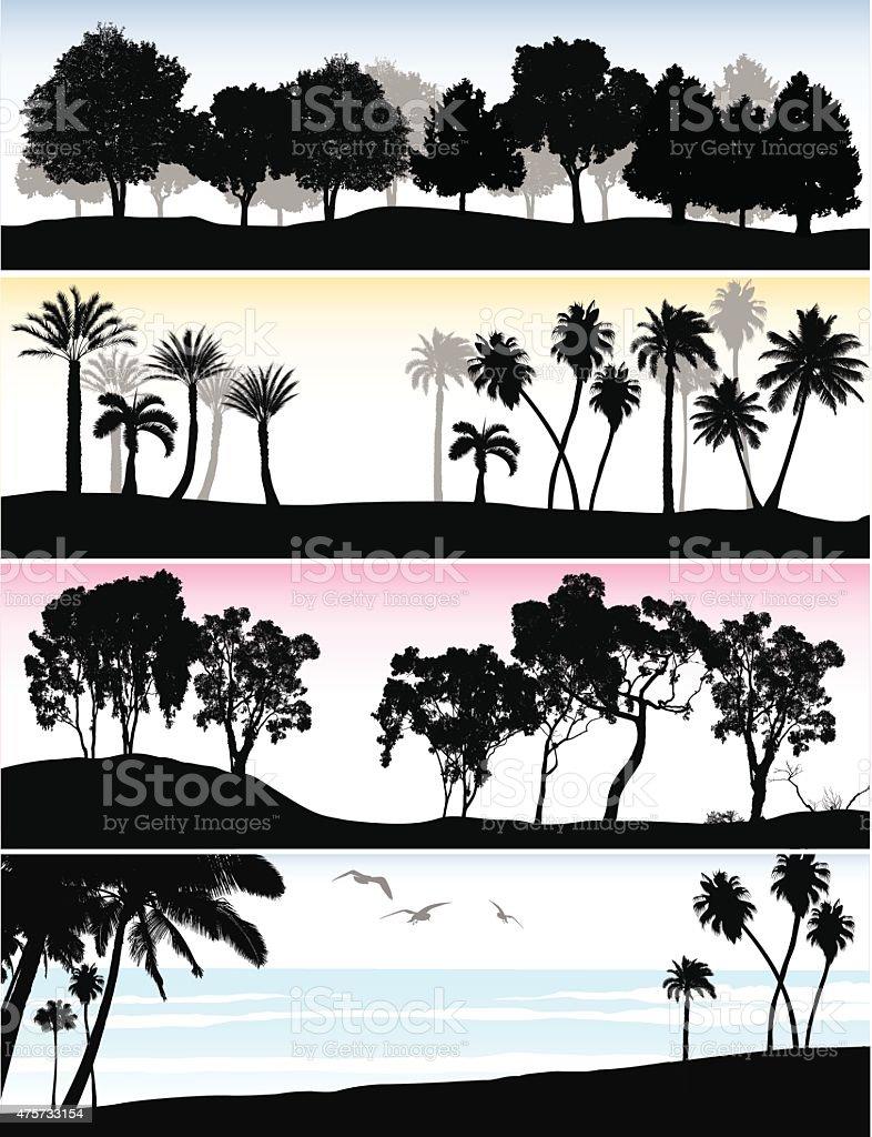 Treeline Ocean vector art illustration