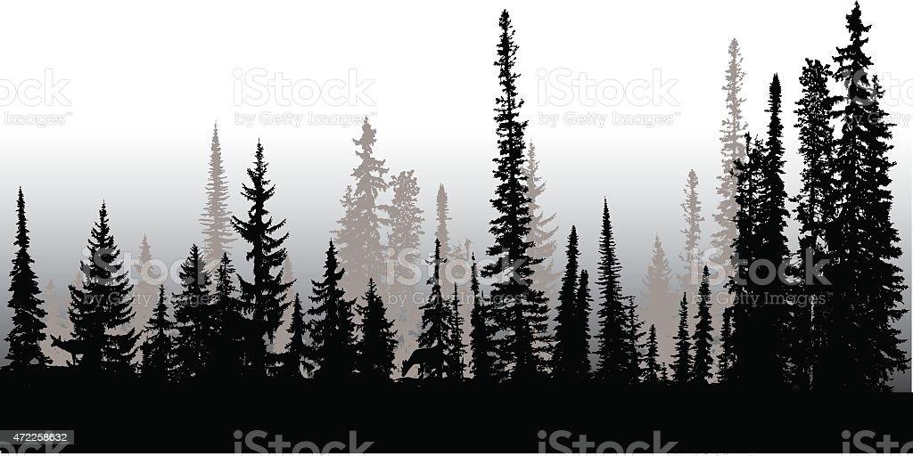 Treeline Up North vector art illustration