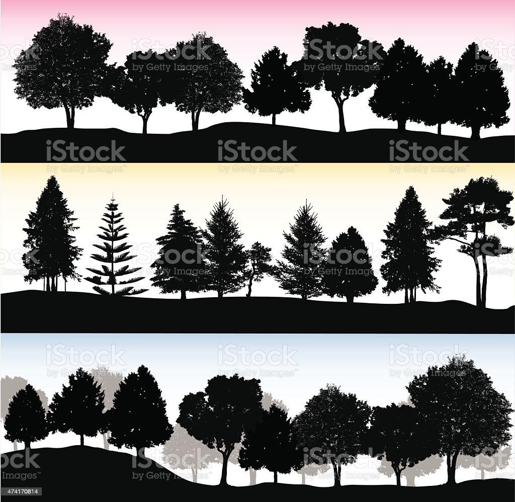Treelines vector art illustration