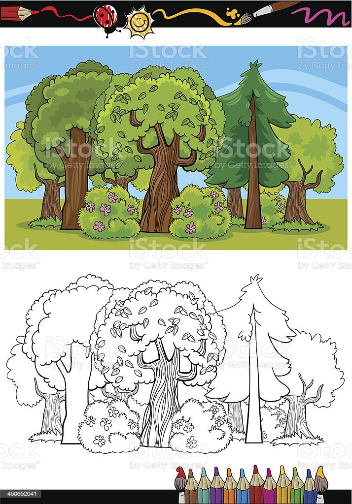 trees and forest cartoon for coloring book royalty-free stock vector art