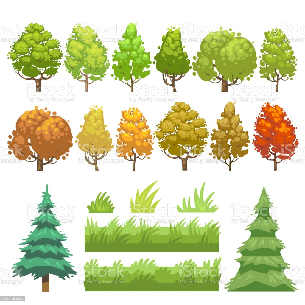 Trees and grass flat vector icons set vector art illustration