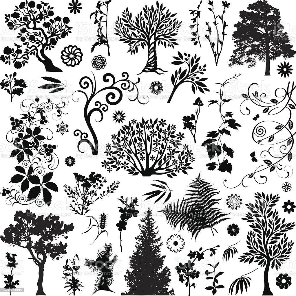 Trees and plants VX vector art illustration