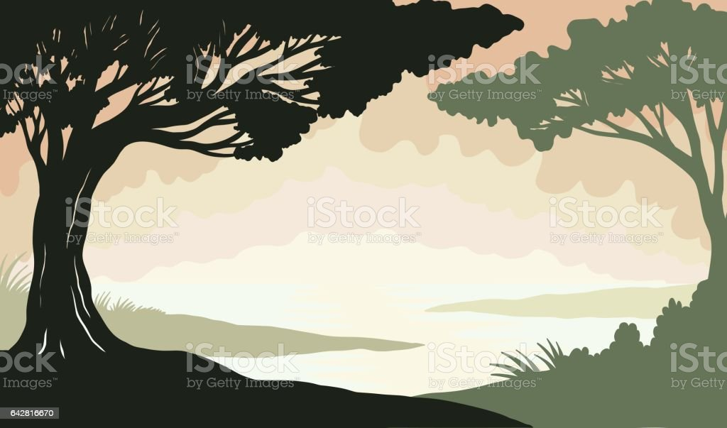 Trees and river vector background for spring vector art illustration