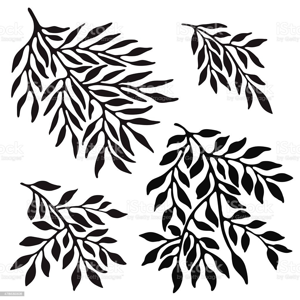 Tree's branches silhouette vector art illustration