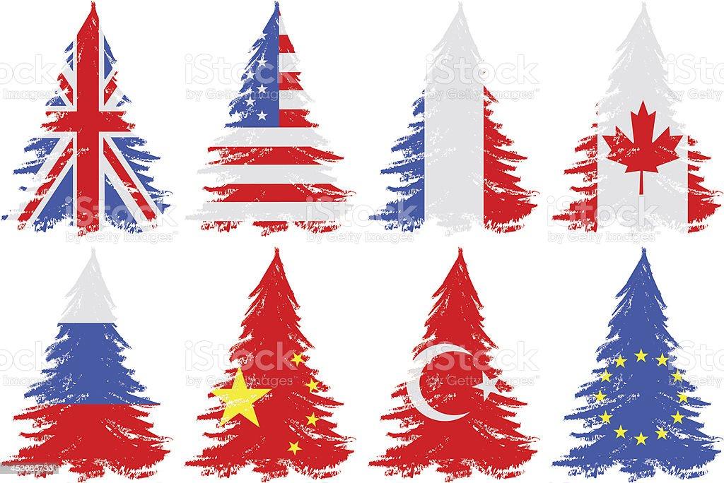 Trees from flag vector art illustration
