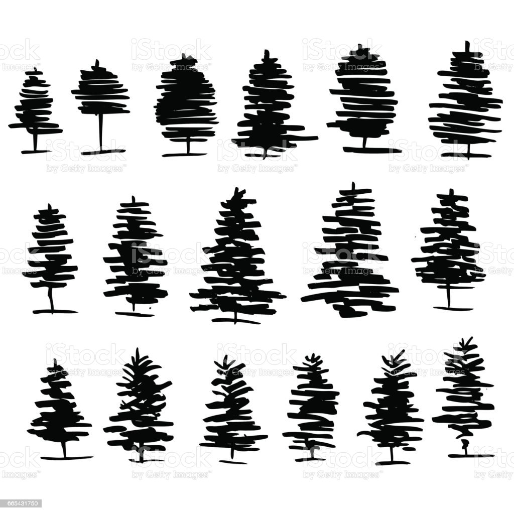 Trees graphic hand drawn vector engraving doodle sketch isolated on white background, vintage style, template for design pattern, collection of brush, printing, elements package organic product vector art illustration