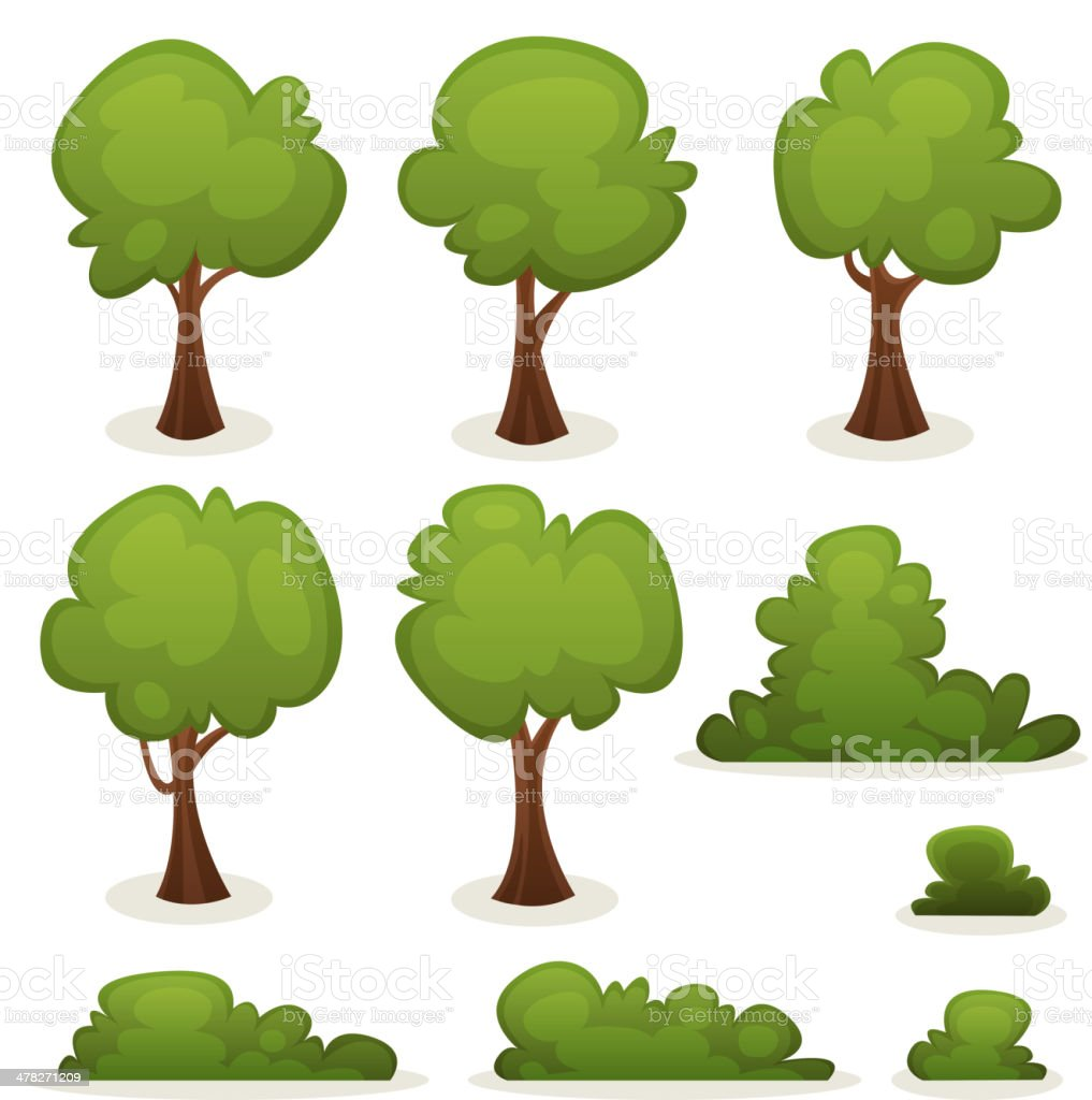 Trees, Hedges And Bush Set vector art illustration