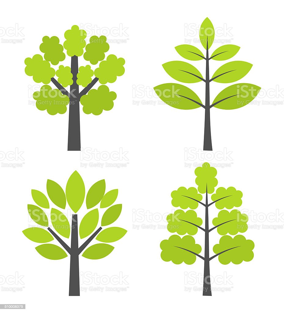 Trees icons vector art illustration
