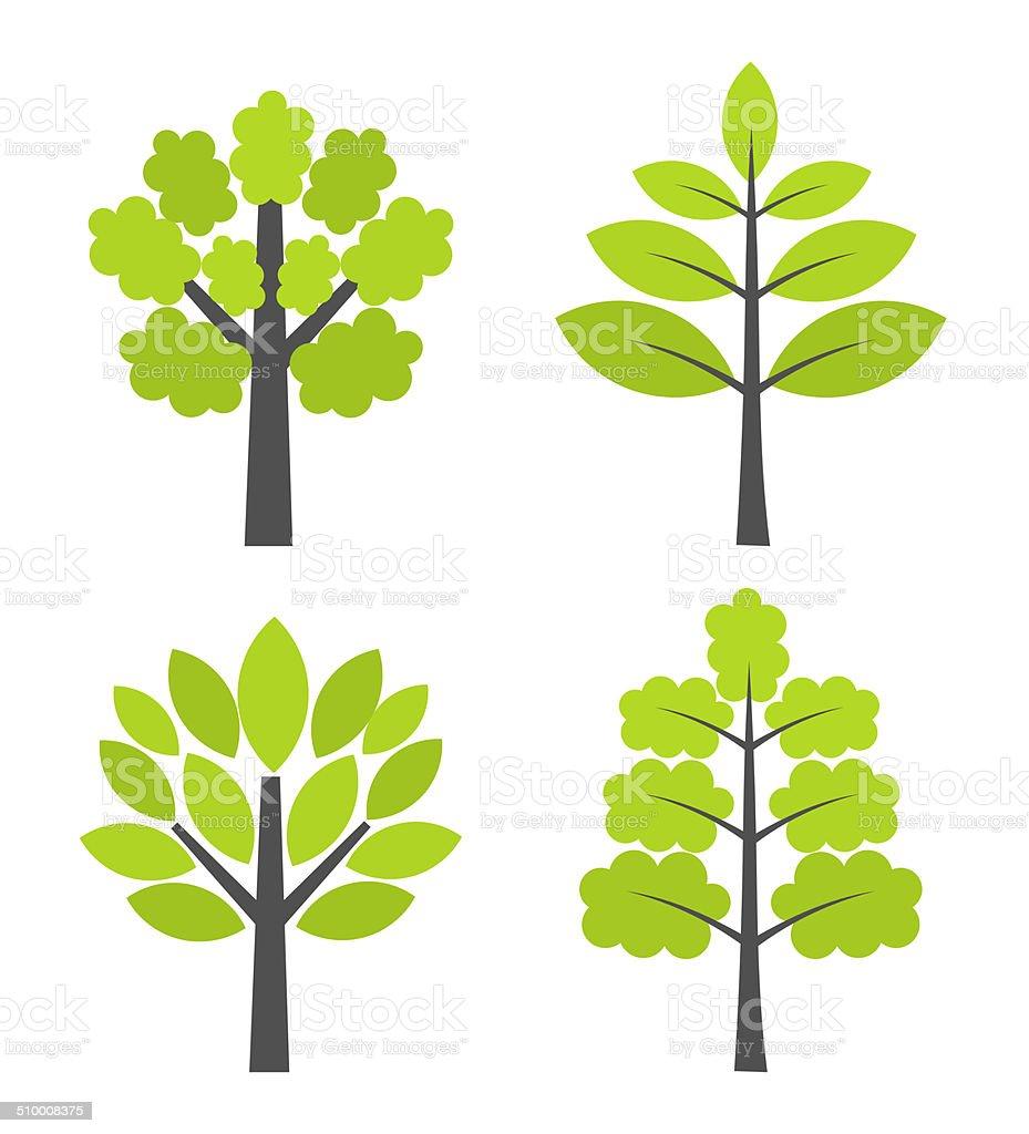 Trees icons vector art illustration